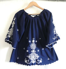 Vtg MTG Top 3/4 Bell Sleeve A-Line Embroidery Trim Cotton Blend Over-Sized Size
