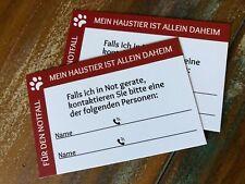 "Notfallkarte ""Haustier allein daheim"" 2 Stück, Notfallkontakt Hund Katze"