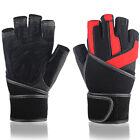 Mens Professional Weightlifting Gym Fitness Lengthen Bracers Half Finger Gloves