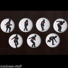 MADNESS - SET OF 7 RED LETTERED CHAS SMASH SILHOUETTE BADGES - MINT CONDITION