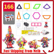 166 Piece Kids Magnetic Blocks Building Toys For Boys Girls Magnet Tiles Kit AU