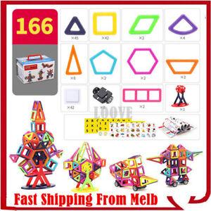 166 Piece Kids Magnetic Blocks Building Toys Mini Magnet Tiles Kit Children Gift