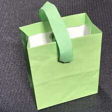 Small Bright Lime Green Paper Gift Bag - Hallmark 7x7x3.5 w Green Ribbon Handle