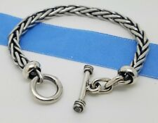 925 Sterling Silver 5'mm Woven Wheaton Braided Chain 7.5' Inch Toggle Bracelet