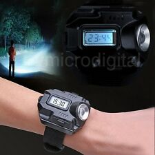 New Tactical CREE LED 1000 Lm Display Rechargeable Wrist Watch Flashlight Torch