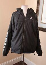 Vtg 90s Adidas Black Reversible Windbreaker Coat Fleece Jacket Stripe M Club Kid