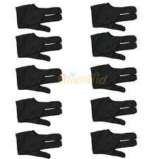 10PC Cue Billiard Pool Shooters 3 Fingers Nylon Gloves Universal Free Size Black