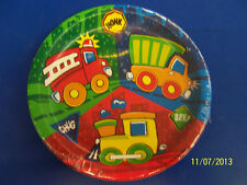 "Construction Pals Fire Dump Truck Train Birthday Party 7"" Paper Dessert Plates"