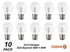10 Pack x 46W = 60W Clear GLS Halogen Light Globes / Bulbs Bayonet Cap B22
