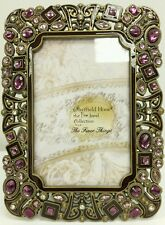 "NEW Jeweled Crystal Lavender 4"" x 6"" PHOTO Picture Frame Wedding Antique Looking"