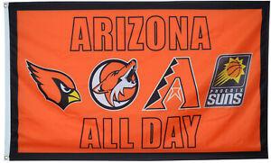 Arizona Cardinals Suns Diamondbacks Coyotes Flag All Day Sports 3x5 ft Banner