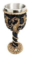 "Dragon Skeleton Ossuary Skull Theme Wine Drink Beverage Goblet Chalice Cup 7.5""H"