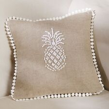 Mud Pie ML7 Welcome Home Decor 9 in Linen Pineapple French Knot Pillow 4165030