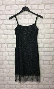 Debut Ladies Dress Size 10 Black Silver Mettalic Fiber Fringe Trim Party