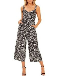 MINK PINK Evie black floral  Jumpsuit (XS/6, S/8 ) NWT- MUST SEE