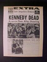 VINTAGE NEWSPAPER HEADLINE ~PRESIDENT JOHN KENNEDY JFK KILLED GUN SHOT DIES 1963