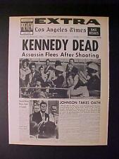 VINTAGE NEWSPAPER HEADLINE ~US PRESIDENT JOHN KENNEDY JFK KILLED GUN SHOT DEAD
