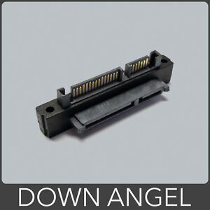 90 Degree DOWN Angle SATA Male to Female Extension Adapter 22 Pin (7+15)