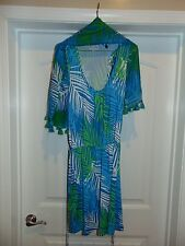 LOT (2) Mud Pie Womens Dress Blue & Green Sleeveless With Matching Scarf NICE