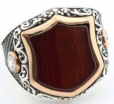 Unique 18gr Solid Sterling Silver Agate Men's Ring -US Seller-All Sizes 8-12 K6U