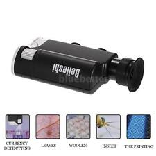 Mini Jeweler 200X LED UV Light Pocket Microscope Jewelry Magnifier Loupe D2D8