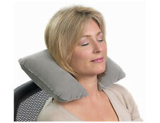 Grey Inflatable Comfort Neck Support Travel Cushion Pillow for Car Plane TV Home