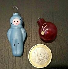 Russian 1960s Lot of 2 Mini Xmas Glass Ornaments Space Sputnik Cosmonaut USSR