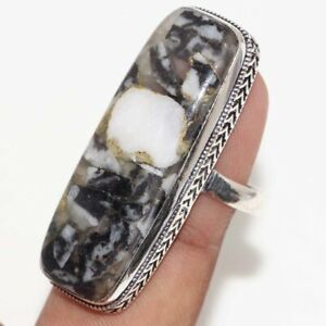 Copper White Buffalo Turquoise 925 Silver Plated Handmade Ring us 9 Jewelry GW