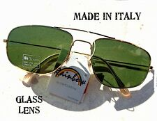 Sunglasses Vintage Aviator Sunglasses Pilot Gold Green Glass Made in Italy