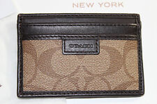 NWT COACH Men's Khaki w/Brown Leather HERITAGE SIGNATURE Slim Bill/Card Case