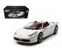 Hot Wheels 1:43 Ferrari 458 Spider In White, Offical Licensed Product New