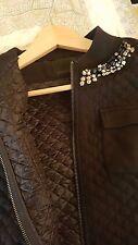 Pinko Black Quilted Jersey Bomber Jacket Cardigan Embellished Collar S 8 10