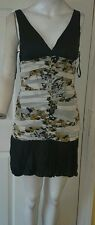 Ladies Black, White and mustard Striped Sleeveless summerDress Size m  by Aggie