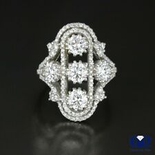 Ring & Cocktail Ring 14K White Gold Natural 3.27 Ct Round Cut Diamond Right Hand