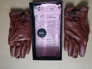 Rapha Mens Brown Leather Town Gloves Full Finger Size Medium Presentation Boxed