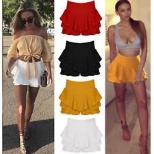 New Womens Celebrity Layered Ruffled Frill Skorts High Waisted Mini Skirt Shorts