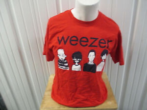 VINTAGE GILDAN WEEZER CARTOON BAND DRAWING MEDIUM RED T-SHIRT PREOWNED 90s