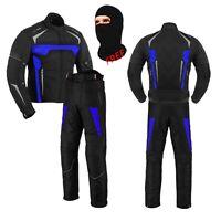 Mens 2 Piece Motorcycle Waterproof Suit Cordura Textile Adventure Touring Suit