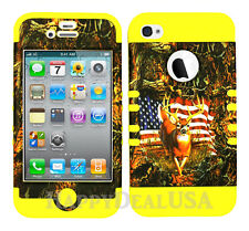 KoolKase Hybrid Silicone Cover Case for Apple iPhone 4 4S - Camo Flag Deer USA