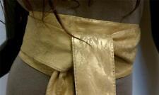 Japanese Kimono Flower Pattern Lace Sash Tie Waist Wrap Corset Wide Gold Belt