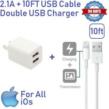 2.1A White Double USB Wall charger Cube W/ USB cable 10ft for iphone 5,6,SE [ST2