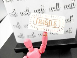 Rose Gold Fragile Labels foiled stickers perfect for business packaging mailing