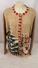 Tiara International Holiday Cardigan Sweater Women Size L Christmas Tree Snowman
