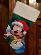 Disney Mickey Mouse Christmas Stocking Holiday Faux Fur Cuff