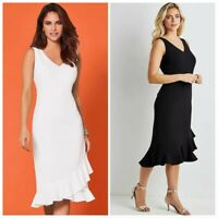 Kaleidoscope Cap Sleeve Frill Hem Front Dress Women Midi Dress