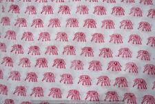 Indian Cotton 3 Yard Elephant Print Hand Block Print Sewing Material Craft Decor
