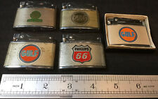 5 Pc. Vintage Japan Adv. Lighters - GULF Oil Station Phillips 66 Cities Service