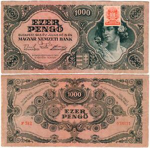 Hungary 500 & 1000 Pengő P#117a & P#118b2 (1945) 2 Banknote Set VF