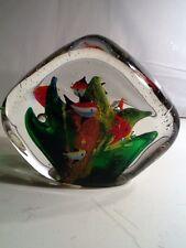 "Glass Paperweight Aquarium With Goldfish 5"" X 5"""