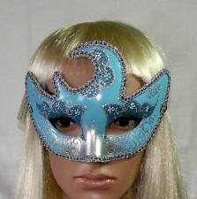 """MASQUERADE CARNIVAL """"SOLEIL"""" FACE MASK PALE BLUE & SILVER DESIGN, MASKED BALL"""
